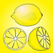 Seamless pattern from yellow juicy lemons — Stock Vector