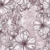 Seamless monochrome pattern of lilies — Stock Vector