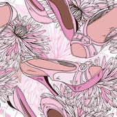 Women's shoes and flowers - seamless pattern — Vecteur