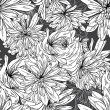 Monochrome seamless pattern of abstract flowers — Stock Vector