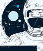 Girl astronaut in space ship — Stock Vector