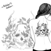 Nude girl with tattoo - skull, horns, leaves — Stock Vector