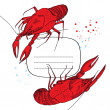 Stock Vector: Boiled red lobsters - frame