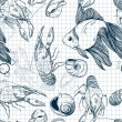 Wektor stockowy : Seamless pattern of hand-drawn marine animals