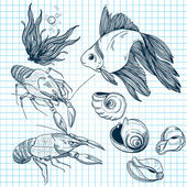 Set of hand-drawn marine animals — Vector de stock