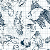 Seamless pattern of hand-drawn marine animals — Vector de stock