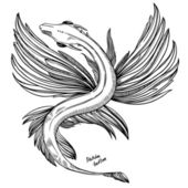 Sketch tattoo - fantastic flying dragon — Vector de stock