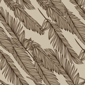 Feathers of bird - vector seamless retro vintage pattern — Stock Vector