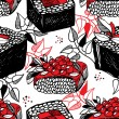 Seamless pattern of sushi and rolls in Japanese style — Vettoriali Stock