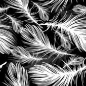 Seamless pattern of black and white feathers — Stock Vector