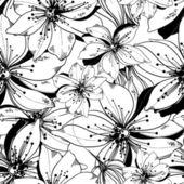 Modello di vettore senza soluzione di continuità di fiori fantastiche monocromatiche — Vettoriale Stock