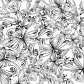 Monochrome textile pattern of butterflies — Stock Vector