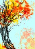 Akwarela i cyfrowy drzewo — Zdjęcie stockowe
