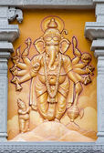 Orange Elephant God Relief Engraved on the Wall — Stock Photo