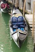 Detail of Beautiful Black and Blue Gondola Seat — Stock Photo