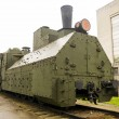 Stock Photo: Armoured WWII Russilocomotive class Ov 5067 front right view