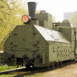 Armoured WWII Russian locomotive class Ov 5067 Front left view — Stock Photo