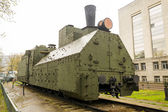 Armoured WWII Russian locomotive class Ov 5067 front right view — Stock Photo