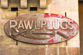 Rusty Rawl Plugs Sign — Stock Photo