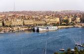 Nile River by Aswan City skyline with Boats — Stock Photo