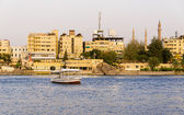 Nile River commercial life by Aswan City with Boats — Stock Photo