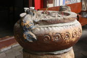Carved stone incensory, Ganlu Ting-Pavilion of the Rose taoist temple. — Stock Photo