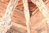 Patan-three roof beams in Mul Chowk. — Stock Photo