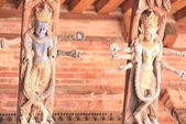 Patan-carved wooden roof beams-Mul Chowk central courtyard. — Stock Photo