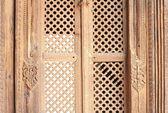 Patan-old wooden lattice window-Mul Chowk. — Stock Photo