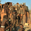 Stock Photo: Himbgirls and boys in Epupa, Kunene, Kaokoland, Namibia.