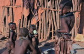 Himba youngster group in Epupa, Kunene, Kaokoland, Namibia. — Stock Photo