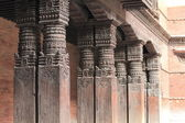 Carved wood columns. Kathmandu. — Stock Photo