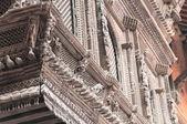 Richly carved wooden window. Kathmandu. — Stock Photo