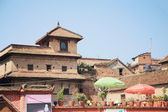 0208 Buildings in Tachupal Tole Square. Bhaktapur-Kathmandu Valley-Nepal. — Stock Photo
