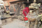 Brass lions guard Bhairab-Shiva.s image. Bhairabnath temple-Bhaktapur-Nepal. 0223 — Stock Photo