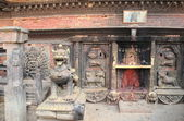 Brass lion guarding Bhairabnath temple. Bhaktapur-Kathmandu Valley-Nepal. 0219 — Stock Photo