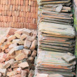 Building materials piled in a corner. Royal Palace-Bhaktapur-Nepal. 0252 — Stockfoto