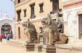Narsingha and Hanuman-lions and monkeys. National Art Museum-Bhaktapur-Nepal. 0239 — Stock Photo