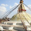 Big stupa of Boudhanath-Bodhnath with buddhist prayer flags. Kathmandu-Nepal. 0312 — Stock Photo
