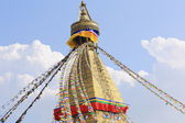 Tower crowning the Boudhanath-Bodhnath stupa. Kathmandu-Nepal. 0314 — Stock Photo