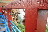 Outer fence with small bronze bells. Manakamana Mandir-Nepal. 0337 — Stock Photo