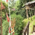 Постер, плакат: Shiva s trident and nepali flags Gorkha Durbar Nepal 0411