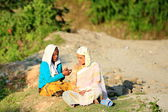 Couple of local women at talk. Dhampus-Nepal. 0501 — Stock Photo