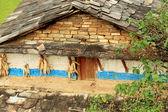 Corncobs-stone wall-slate roof. House in Landruk-Nepal. 0574 — Stock Photo