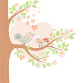 Two kissing birds on the tree — Stockvector