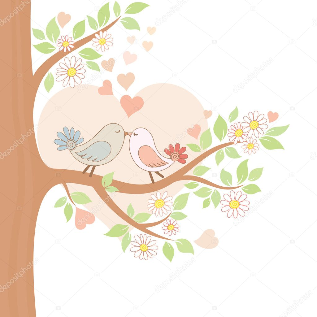 Decorative color vector illustration of two kissing birds — ベクター素材ストック #12645019