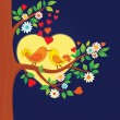 Two kissing birds on the tree — Imagens vectoriais em stock