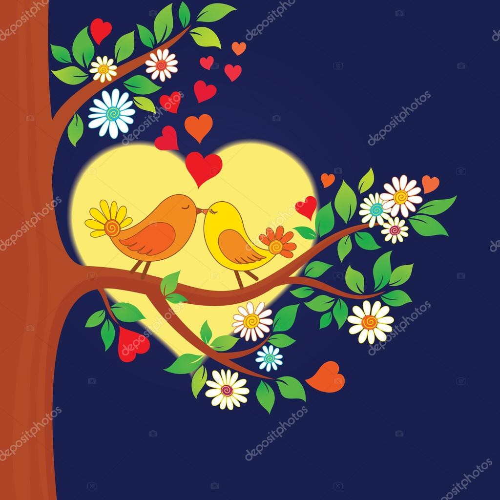 Decorative color vector illustration of two kissing birds in the moonlight — Imagen vectorial #12827765
