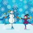 Girl with snowman skating — Stock Vector