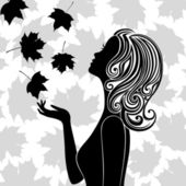 Silhouette of young woman with flying leaves — Stock Vector